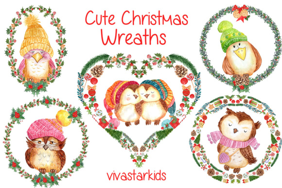 Watercolor Christmas Wreaths, Heart Shape Clipart Graphic Illustrations By vivastarkids