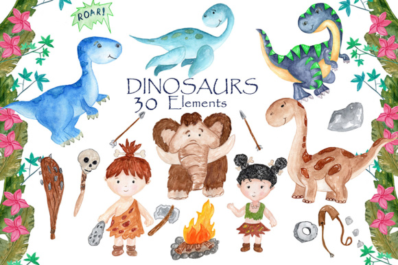 Watercolor Dinosaur Clipart Graphic Illustrations By vivastarkids