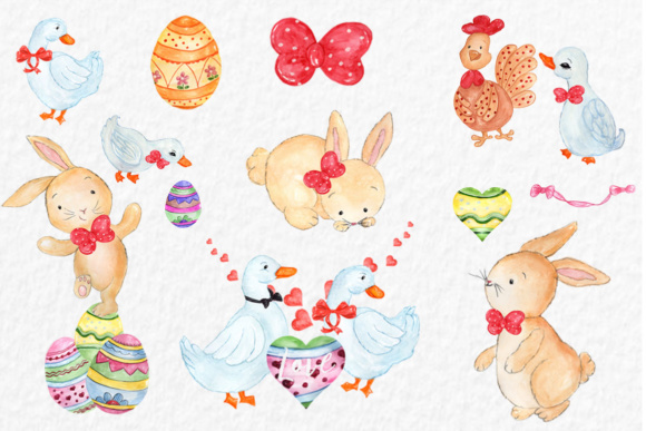 Watercolor Easter Clipart Graphic Illustrations By vivastarkids - Image 2