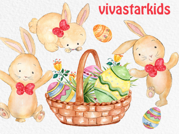 Download Free Watercolor Easter Clipart Grafico Por Vivastarkids Creative for Cricut Explore, Silhouette and other cutting machines.