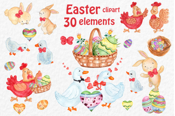 Watercolor Easter Clipart Graphic Illustrations By vivastarkids