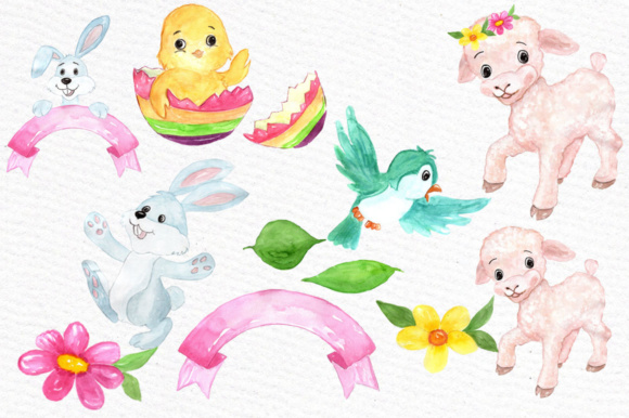Watercolor Easter Kids Clipart Watercolor Lamb Clipart Easter Egss Easter Basket Flowers Clipart Graphic Illustrations By vivastarkids - Image 2