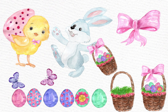 Watercolor Easter Kids Clipart Watercolor Lamb Clipart Easter Egss Easter Basket Flowers Clipart Graphic Illustrations By vivastarkids - Image 3