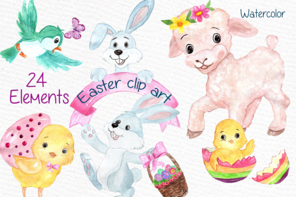 Watercolor Easter Kids Clipart Watercolor Lamb Clipart Easter Egss Easter Basket Flowers Clipart Graphic Illustrations By vivastarkids