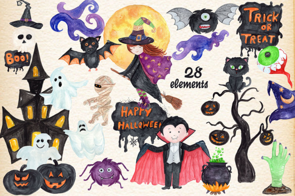28 Hand Painted Halloween Themed Designs Graphic Illustrations By vivastarkids