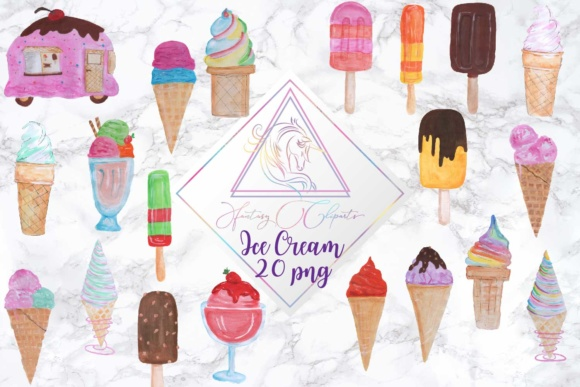 Print on Demand: Watercolor Hand Drawn Ice Cream Clipart Graphic Illustrations By fantasycliparts