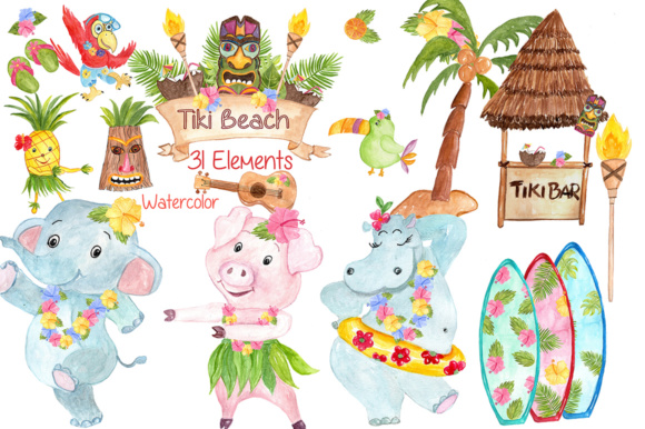 Watercolor Hawaii Clipart Graphic Illustrations By vivastarkids