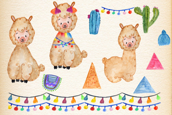 Download Free Watercolor Llama Clipart Graphic By Vivastarkids Creative Fabrica for Cricut Explore, Silhouette and other cutting machines.