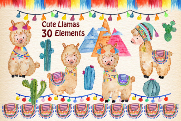 Watercolor Llama Clipart Graphic Illustrations By vivastarkids