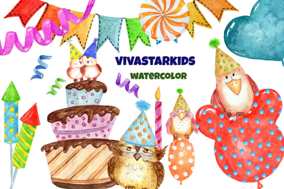 Watercolor Party Clipart Cute Owls Graphic Illustrations By vivastarkids - Image 3