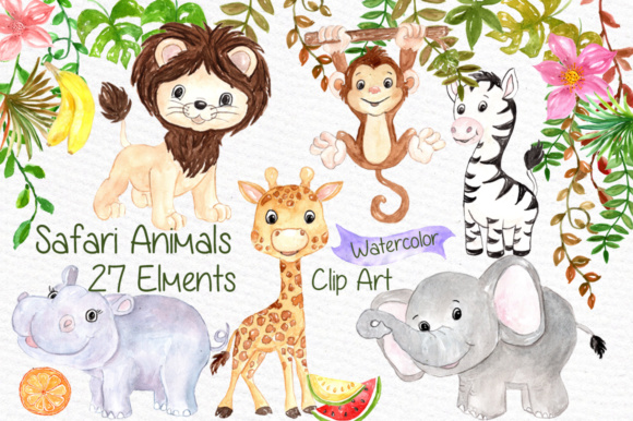 Watercolor Safari Animals Clipart Kids Jungle Animals Clipart Grafik Illustrationen von vivastarkids