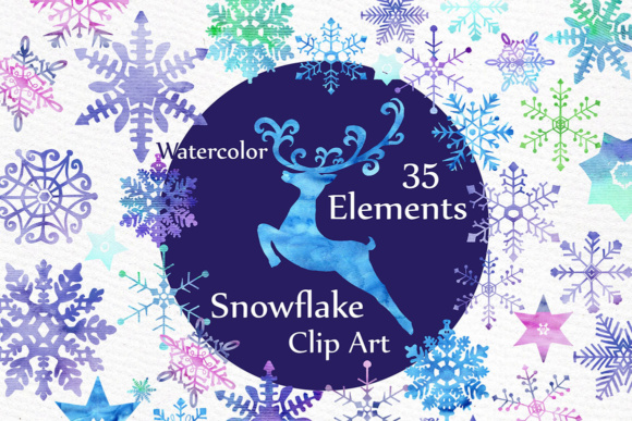 Watercolor Snowflakes Clipart, Holiday Clipart Graphic Illustrations By LeCoqDesign