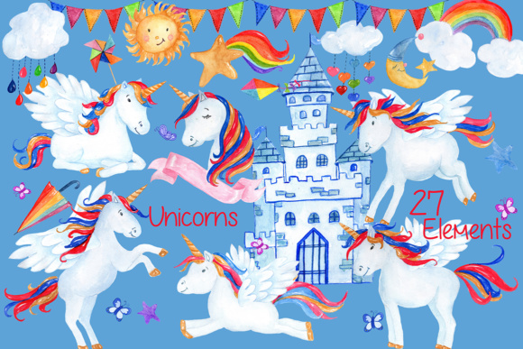 Download Free Watercolor Unicorn Clipart Graphic By Vivastarkids Creative for Cricut Explore, Silhouette and other cutting machines.