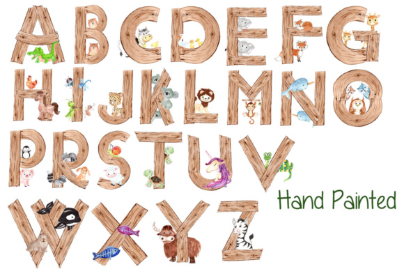 Watercolor Zoo Animal Alphabet Clipart