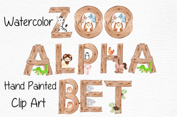 Watercolor Zoo Animal Alphabet Clipart Graphic Illustrations By vivastarkids