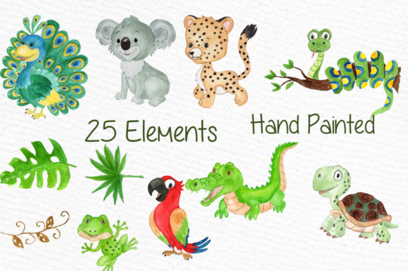 Watercolor Animals Clipart Peacock Graphic By vivastarkids Image 2