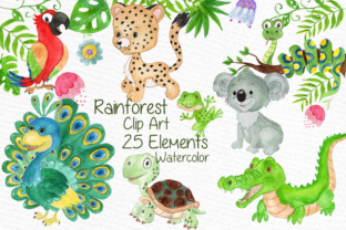 Print on Demand: Watercolor Animals Clipart Peacock Graphic Illustrations By vivastarkids