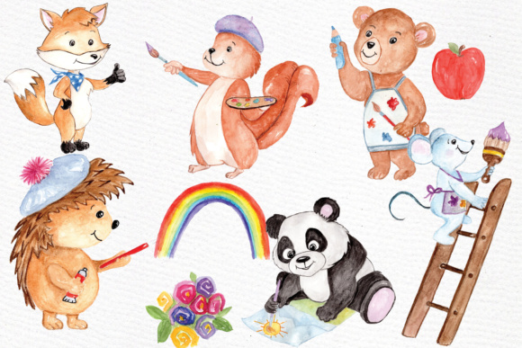 Watercolor Animals Kids Clipart Graphic By vivastarkids Image 2