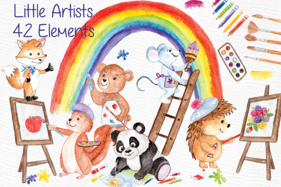 Watercolor Animals Kids Clipart Graphic By vivastarkids Image 1