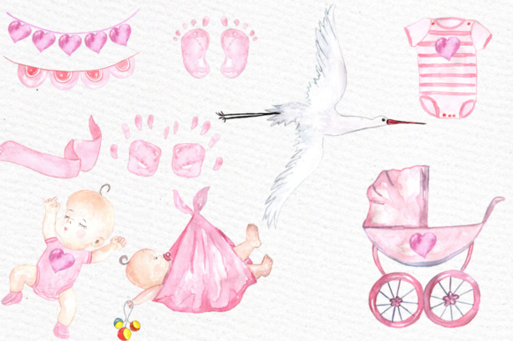 Watercolor Baby Shower Girl Clipart Stork Clipart Graphic Illustrations By vivastarkids - Image 2