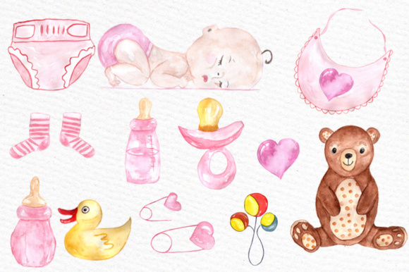 Watercolor Baby Shower Girl Clipart Stork Clipart Graphic By