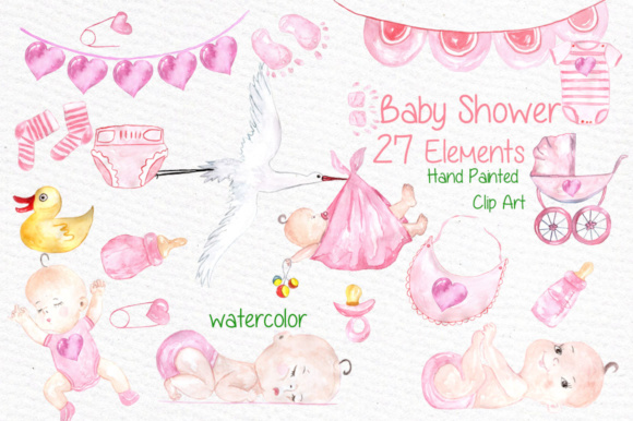 Watercolor Baby Shower Girl Clipart Stork Clipart
