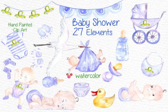 Watercolor Boy Baby Shower Clipart Graphic By Vivastarkids Creative Fabrica