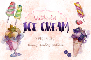 Download Free Watercolor Cool Ice Cream Set Graphic By Mystocks Creative Fabrica for Cricut Explore, Silhouette and other cutting machines.