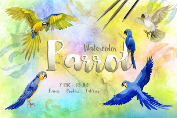Print on Demand: Watercolor Cool Parrot Bird Set Graphic Illustrations By MyStocks