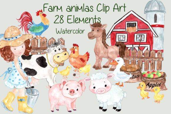 Watercolor Farm Animals Clipart Pig Horse Cow Chicken Barn Ship Rooster