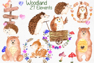 Print on Demand: Watercolor Forest Animals Clipart Graphic Illustrations By vivastarkids