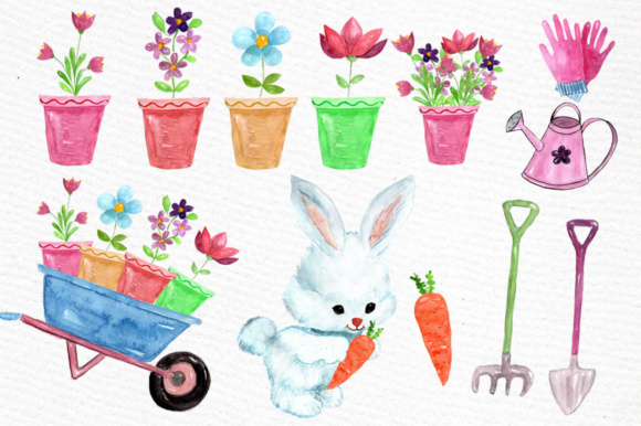 Download Free Watercolor Garden Clipart Rabbit Clipart Garden Tools Graphic By for Cricut Explore, Silhouette and other cutting machines.