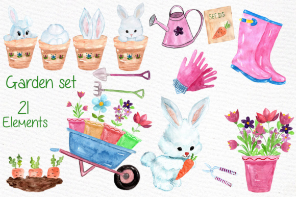 Watercolor Garden Clipart Rabbit Clipart Garden Tools Graphic Illustrations By vivastarkids