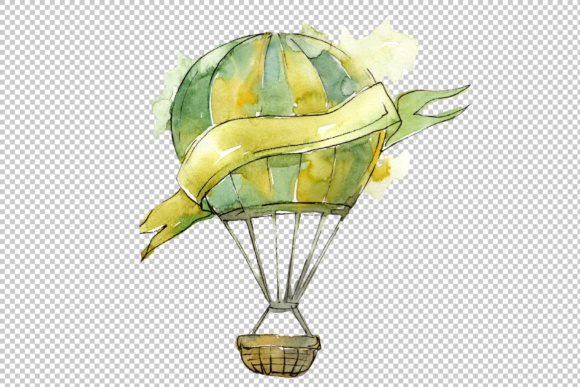 Print on Demand: Watercolor Holiday Hot Air Balloon Graphic Illustrations By MyStocks