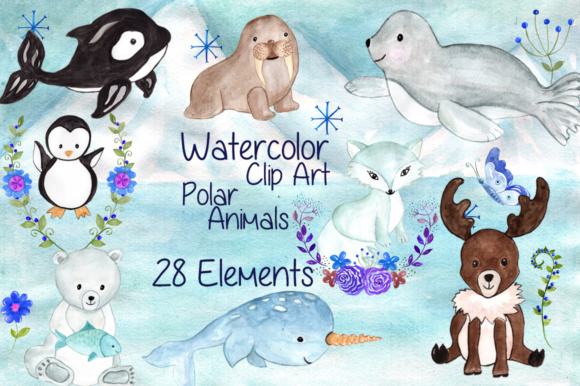 Watercolor Polar Animals Clipart Graphic Illustrations By vivastarkids