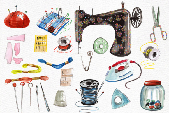 Watercolor Sewing Set Graphic By vivastarkids Image 2