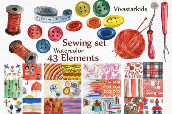 Watercolor Sewing Set Graphic By vivastarkids Image 3