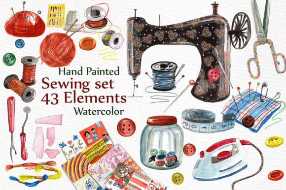 Watercolor Sewing Set Graphic Illustrations By vivastarkids