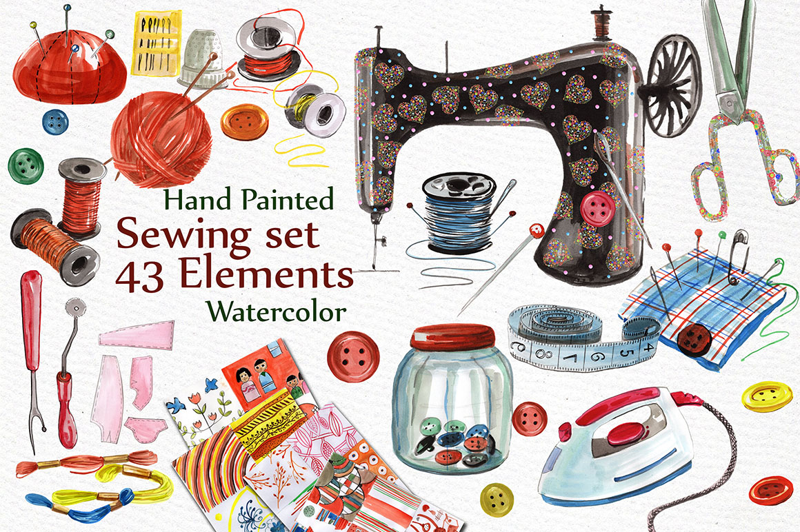 Watercolor sewing set Graphic by vivastarkids - Creative ...