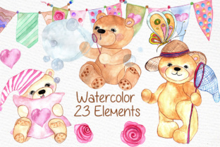 Print on Demand: Watercolor Teddy Bear Clipart Graphic Illustrations By vivastarkids