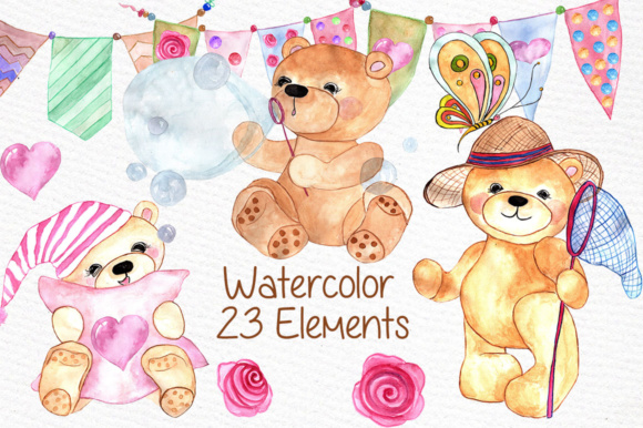 Watercolor Teddy Bear Clipart Graphic Illustrations By vivastarkids