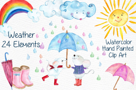 Download Free Watercolor Weather Clipart Sun Clipart Clouds Clipart Rain Clipart for Cricut Explore, Silhouette and other cutting machines.