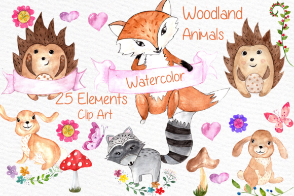 Watercolor Woodland Animals Clipart Graphic Illustrations By vivastarkids