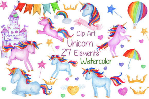 Watercolour Unicorns Clip Art Nursery Graphic Illustrations By vivastarkids
