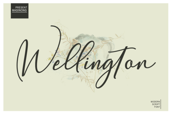 Print on Demand: Wellington Script & Handwritten Font By masinong