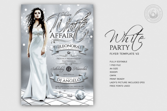 White Party Flyer Template V2 Graphic Print Templates By ThatsDesignStore - Image 2