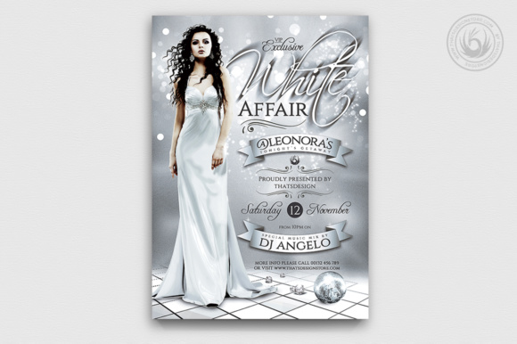 White Party Flyer Template V2 Graphic Print Templates By ThatsDesignStore