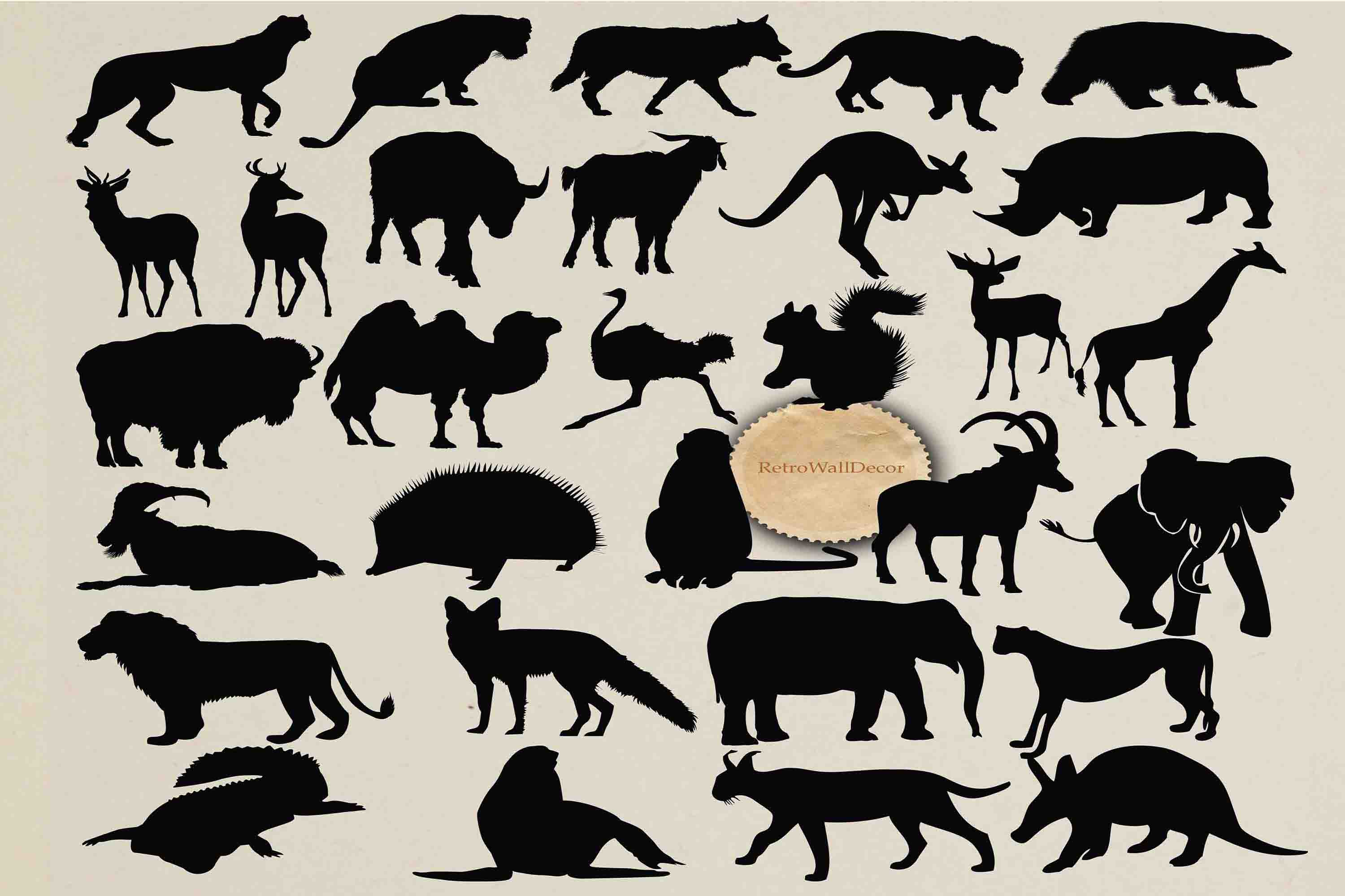 Download Free Wild Animals Silhouettes Graphic By Retrowalldecor Creative for Cricut Explore, Silhouette and other cutting machines.