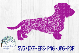Download Free Wire Haired Dachshund Dog Mandala Graphic By Wispywillowdesigns for Cricut Explore, Silhouette and other cutting machines.
