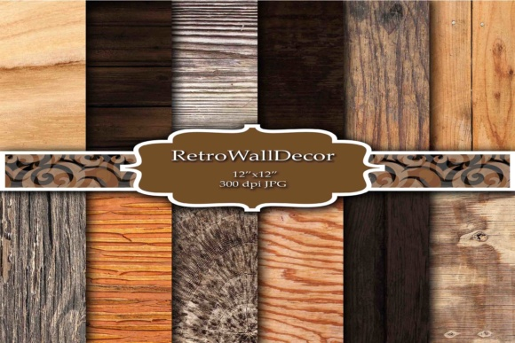 Print on Demand: Wood Digital Paper Set Graphic Backgrounds By retrowalldecor